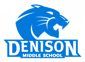Denison Middle School stacked logo - navy blue